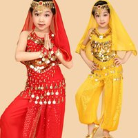 bellydance dance - 4pcs Sets Girls Ballet For Children Girl Bollywood Dance Kids Performance Ballet Costumes Dance Sets Girl Indian Dancewear Bellydance Set