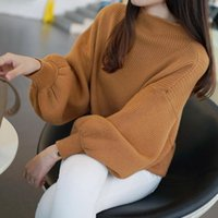 Wholesale Oversized Knitted Sweater Pullover Turtleneck wool lantern long sleeve women korean pull femme ladies winter Christmas