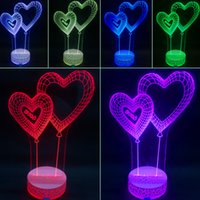 Wholesale 3D Visual Bulb Optical Illusion Light Colorful LED Table Lamp Touch Romantic Holiday Night Lights Love Heart Wedding Gifts kx
