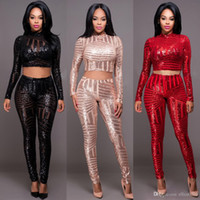 Wholesale 2 Piece Set Women Crop Top Long Pant Set Hot Autumn Winter Fashion Sequined Long Sleeve Club Party Outfits Clothing Set