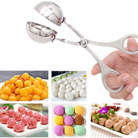 Wholesale Stainless Steel Meat Balls Clip Fish Ice Cream Ball Maker Mold Dough Meatball Cookie Tongs Scoop