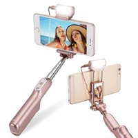 Wholesale Bluetooth Selfie Stick with Degree LED Fill in Light with Rear Mirror Extendable Foldable Monopo For iPhone Samsung with Retail Box