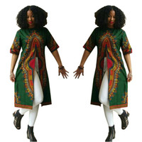 Spandex printed  enthic clothing hot new fashion dashiki pattern african printed short sleeve round neck split dresses for womens