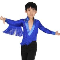 Wholesale Top Selling Latin Dance Clothes Long Sleeved Tassel Shirts Boys Dance Performance Costume Outfits UD0033