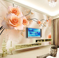 Wholesale Large Custom Flower Mural Rose d Wall Photo Mural Wallpaper for SofaTV Background d Wall Murals Fresco Sticker
