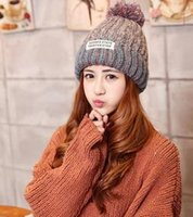 Wholesale The new autumn and winter knitting hat Ms youth fashion letter labeling thickening warm lady s wool hat