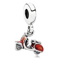 scooter jewelry - Authentic Sterling Silver Bead Charm Red Enamel Scooter Pendant Beads Fit Women Pandora Bracelet Bangle DIY Jewelry HKA3207