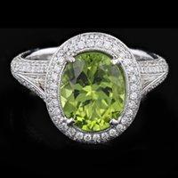 Wholesale 18k White Gold CTW Peridot CTW Diamond Ring