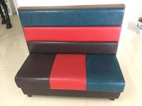 Wholesale Custom hotel restaurant west restaurant cafe shop Hot pot wood foot leather fight ribbon board card of the sofa