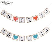 anniversary banners - Customized Date Bunting Banner Save The Date Heart Wedding Signs Anniversary Garland Birthday Party Decoration Photo Props