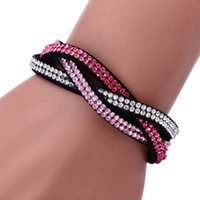 Wholesale Selling new multilayer row set auger flannelette leather bracelet Diamond jewelry accessories multicolor