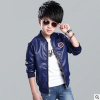 Wholesale Spring Autumn New Children s leisure Jacket Coat Boy Embroidered standard leather Jacket Solid Colors Size6 ly134