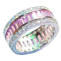 Luxury 925 Sterling Silver Pink Topaz pavimentar ajuste completo CZ Diamond Gemstone Anillos de la boda de la joyería Bride Bands anillo para las mujeres