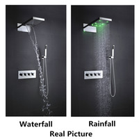 Wholesale Wall mounted multi function luxury shower head set hydro power color change rainfall waterfall bathroom faucet set