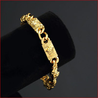 Wholesale 2016 new fashion men and women Real Gold plated bracelet never fade gold chain link bracelet