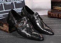 Wholesale Hot Selling Luxury Mens Dress Shoes Fashion Buckle Strap Python Snake Pattern Leather Shoes Mens Wedding Party Shoes larger size
