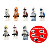 Wholesale Marvel Mini Figures Building Blocks ABS Green Plastic Star Wars Clone of Soldiers White SoldiersHot Toys for Children