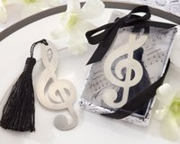 Paper music note Bookmark Wholesale- 100 pcs Music Note Alloy Bookmark Novelty Ducument Book Marker Label Stationery Exquisite Gift Book mark