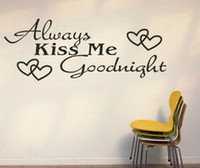 Wholesale Always kiss me goodnight home creative quote wall decals zooyoo8053 decorative adesivo de parede removable vinyl wall stickers