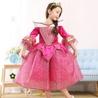 Mid-Calf aurora prom dresses - Frozen Big Girls Childrens Dresses Flare Sleeve Lace Princess Aurora Dress Clothing Dancewear Cosplay Prom Dresses Girl Kids Clothes