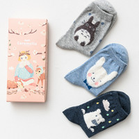 Women animal print gift box - 2016 Ladies gift box cotton socks blue Big head animal three pairs of combination socks gift box