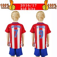 Wholesale 2017 Kids Kits Atletico de Madrid Football Jersey Atletico Home Red Soccer Jersey Griezmann Torres Thai Qualiy Child Soccer Shirts