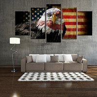 More Panel american picture frame - Amosi Art Panles Wall Art Retro American Flag and The bald eagle of Picture Printed on Canvas For Home Hotel Wall Decor