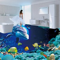 art mould plastics - Custom Underwater World Dolphin Floor Wallpaper Painting Wall Art Livingroom Bathroom Floor Vinyl Self adhesive Wallpaper Murals