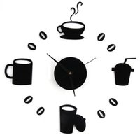 Wholesale DIY Home Decor Large Coffee Cup Kitchen Wall Clocks Watch Decals