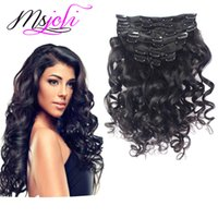 Wholesale Msjoli Brazilian Virgin Human Hair Clip In Extension loose wave Natural Color Full Head