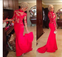 Wholesale Elegant Red Mermaid Evening Dresses High Neck Long Sleeves Appliques Lace Satin Saudi Arabic Formal Evening Gowns
