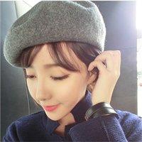 Bonnet cru France-Vente en gros-populaires chaudes femmes Casual Beret Beanie chapeau Hat Baggy solides laine Vintage Chapeaux Beanie Printemps Winter Faux Fur HatFor Femmes