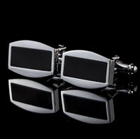 Wholesale Simple Style Black Rectangle Cufflinks Mens Shirt Cuff Button Christmas Gifts for Men Laser Plating Cuff Link Gemelos