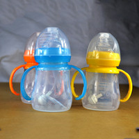 Wholesale Cute Baby bottle Infant Newborn Cup Children Learn Feeding Drinking Handle Bottle kids Straw Juice water Bottles ps nz15