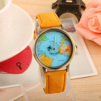 aircraft navigation - Fashion Mens Watach New Cowboy PU Belt Watches World Navigation Map Retro Table Personality Aircraft Pointer Student Watches Ladies Watch
