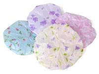 Wholesale Cheap PVC water Printing Lace bath cap environmental bath cap hair cap