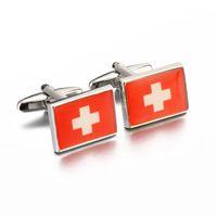 Wholesale 1 Pair JTL Fashion Brand New Cufflinks Switzerland Swiss Flag Pattern Cufflinks for Mens Shirt High Quality Enamel Cufflinks Jewelry