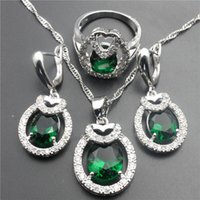 Wholesale Green jade sterling silver jewelry set women sliver earrings pendant necklace ring size free gift box