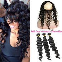 band deep - 360 Degree Lace Frontal Closure With Bundles Loose Deep Wave Malaysian Hair With Lace Band Frontal With Baby Hair