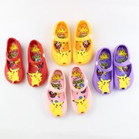 Wholesale Mini Pikachu Kids Sandals Cartoon Jelly Shoes Poke Shoes Baby Girls Boys PVC Shoes EUR