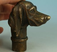 antique dog art - Fierce Chinese Old Bronze Hand Carved Dog Statue Walking Stick Head Collection