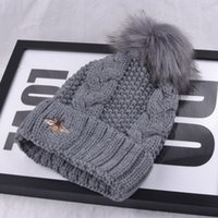 bee protection hat - Han edition hat hat female winter hair bulb add wool knitted cap bee embroidery earmuffs warm hat