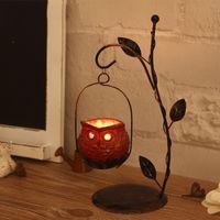 Wholesale YUMU Metal Owl Candlestick Hurricane Lantern for Christmas Decoration Candle Holder Vintage Décor Candle Lantern Centerpiece DH ZT