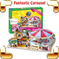 Wholesale New Year Gift Carousel D Model Puzzle Children Playground Building Kids Educational Toys Learning DIY Game Assemble Toy