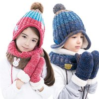 Wholesale Korea KK Children Tree Hat Scarf Gloves Three Piece Warm Autumn Winter Baby Boy Girl s Outdoor Fashion Hat