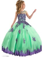 Wholesale Flower Girls Lace Appliques Pageant Dresses Kids Glitz Dance Party Tulle Ball Gown Child Long Birthday Party Custom Made Colourful Dresses