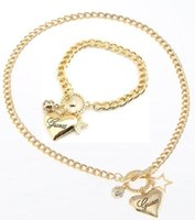 Mexican alloy dark blue - Fashion Brand Heart Shaped Charm Bracelets Necklace Jewelry Sets Silver Gold Plated American Love Jewellery Design jewelry For Women