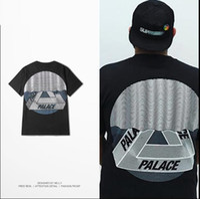 Men Crew Neck Short Sleeve Palace T Shirt Men New York London Skateboards Hip Hop T-Shirt YEEZUS VLONE OFF WHITE T Shirts Wave TRI-CURTAIN Mask Tee 2017 XXL