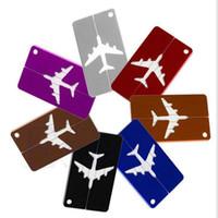 achat en gros de chien sac de jouet-Avion Avion Bagage ID Tags Embarquement Voyage Adresse ID Card Case Sac Étiquettes Carte Chien Tag Collection Porte-clés Porte-clés Jouets Cadeaux