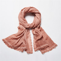 Wholesale High Quality Fashion Linen Women Scarves Basic Plain Colorful Vintage Style Long Shawls Wraps Scarfs For Women SY1000